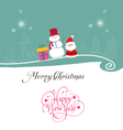 Merry christmas card with santa claus gift and vector image vector image