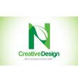n green leaf letter design logo eco bio leaf vector image vector image