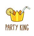 party king cocktail logo t-shirt print vector image vector image