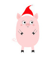 pig piglet standing santa hat cute cartoon funny vector image vector image