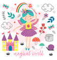 poster magical world with fairy vector image