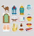 ramadan kareem card with set icons vector image