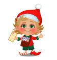 santa helper delivers mail isolated on white vector image vector image