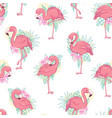 seamless pattern with flamingos vector image vector image