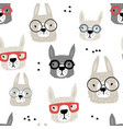 seamless pattern with funny alpaka in glasses vector image vector image