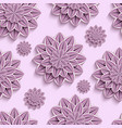 Seamless pattern with purple 3d paper flowers vector image vector image