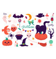 set of cute halloween elements isolated on white vector image