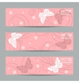 Set of horizontal banners with paper butterflies vector image vector image
