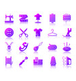 sewing simple gradient icons set vector image