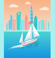 ship with white canvas sailing in deep waters vector image vector image