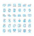 social network media thin line icon set vector image