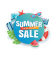 summer sale banner paper cut template blue vector image