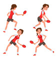 table tennis female player game match vector image vector image