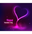 Valentine heart glowing romantic flame in dark vector image vector image