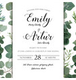 wedding floral invite card with eucalyptus leaves vector image