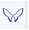 wings sign navy line icon on vector image