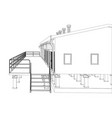 wire-frame industrial building vector image vector image