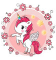 cute cartoon unicorn with flowers vector image