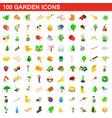 100 garden icons set isometric 3d style vector image vector image