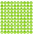 100 leaf icons set green circle vector image vector image
