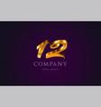 12 twelve gold golden number numeral digit logo vector image vector image