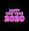 2020 happy new year luminous neon creative design vector image