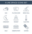 9 space icons vector image vector image