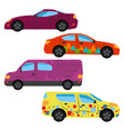 a set of four cars painted in different colors vector image