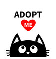 adopt me dont buy red heart black cat face head vector image vector image