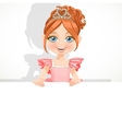 Beautiful little ballerina girl in tiara hold big vector image vector image