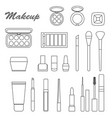 big line set of different decorative cosmetics vector image