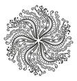 black and white hexagonal mandala round symmetry vector image