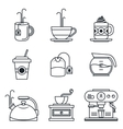 Black lineart icon set Coffee tea cup devices vector image