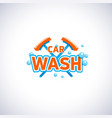 car wash cartoon style emblem with bubbles and mop vector image