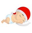cartoon basleeping with santa hat in christmas vector image vector image