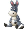 cartoon donkey sitting vector image vector image