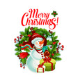 christmas card with snowman gift box and wreath vector image vector image