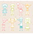 Collection of happy children Hand drawn cartoon vector image