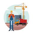 construction builder cartoon vector image vector image