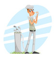 cool professional golfer player adjusts glove vector image vector image