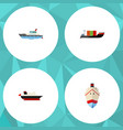 flat icon ship set of sailboat cargo tanker and vector image vector image