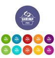 fresh shrimp icons set color vector image vector image