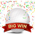 golf award red ribbon big sport game win vector image vector image