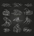 hand drawn sea storm waves on blackboard vector image vector image