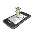 hand of man drowning in mobile phone vector image