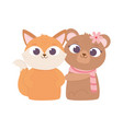 happy valentines day cute animals bear and fox vector image
