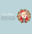 holiday card with funny santa claus and wreath vector image vector image