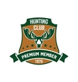 Hunting club membership badge with mature elk vector image