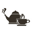 icon of boiling kettle and cup of hot tea vector image