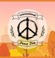 international peace day poster hippie sign icon vector image vector image